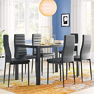 IDS Home 7 Piece Dining Room Furniture Glass Table Top Table Set with 6 Faux Leather High Back Support Chairs Metal Frame for Kitchen, Dinette - Black