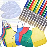 buytra Kids Children Painting Supplies Include 12 Pack Artists Fabric Aprons Smocks 12 Pack Large Round Paint Brushes with Hog Bristle 3 Pieces Paint Palettes