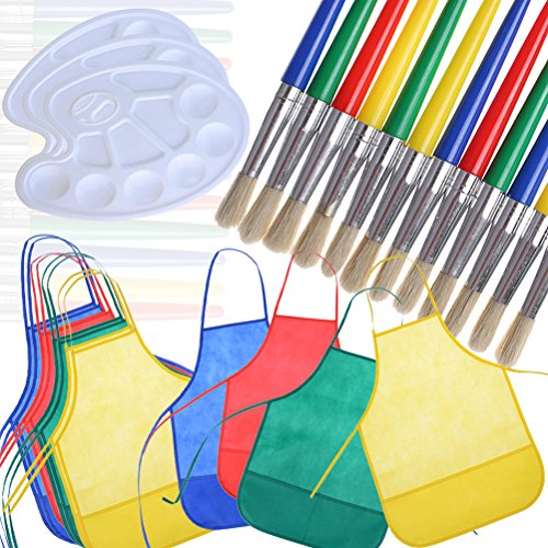Buytra Kids Children Painting Supplies Include 12 Pack Artists Fabric Aprons Smocks 12 Pack Large Round Paint Brushes with Hog Bristle 3 Pieces Paint Palettes (Paintbrushes And Party)