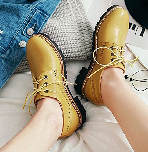 Women's Yellow IDIFU Top Block Up Oxfords Mid Low Round Fashion Toe Low Heels Shoes Cut Lace dZqSrZ
