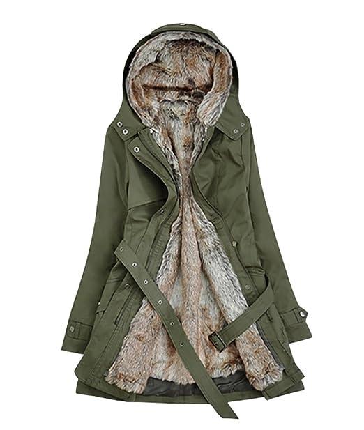 YOUJIA Donna Cappotto d inverno Spesso Caldo con Cappuccio Lungo Giacca  Parka con cintura 98dcae13871