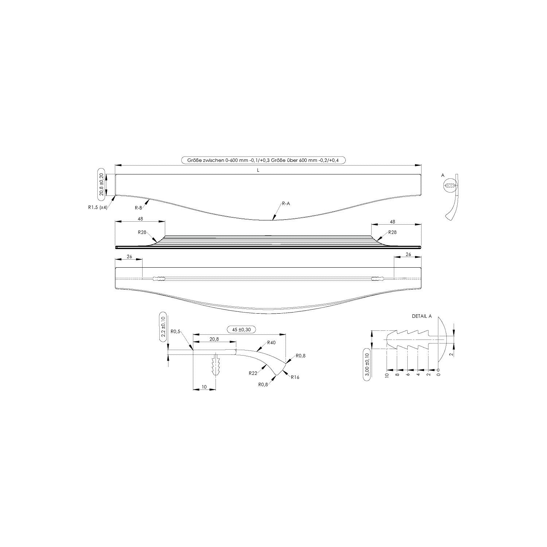 Aluminium stainless steel effect Handle bar MALIBU CURVE length 295 mm
