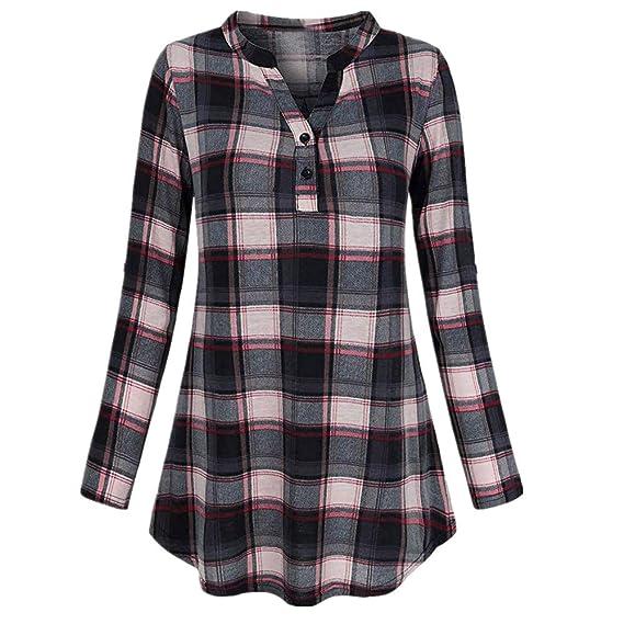 Roll-up Plaid Superpuesto Camisetas de Manga Larga para Mujer Blusa para Mujer Camisetas Mujer Camisas Mujer Tops Tallas Grandes Mujer: Amazon.es: Ropa y ...