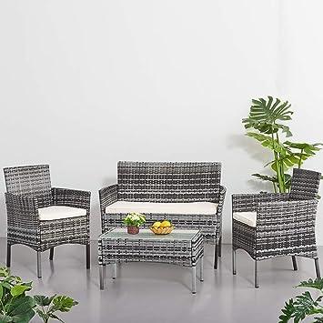 Anaelle Panana Ensemble Salon de Jardin Table en Verre + 1 Canapé 2 Places  + 2 Fauteuils en Résine Tressée Poly Rotin Résistant aux Rayons UV pour ...