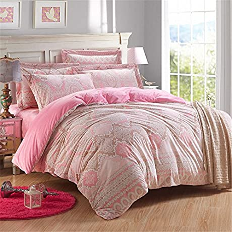 Auvoau Bedding Set Pink Flower Exotic Style Soft Flannel Girls Duvet Cover Sets Queen 5pc With Comforter