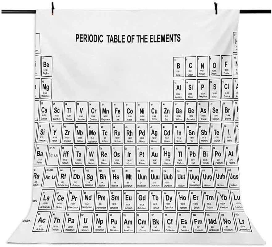 Science 6.5x10 FT Photo Backdrops,Element Table for Chemisty Science Students Scientists Classic Plain Image Background for Baby Shower Birthday Wedding Bridal Shower Party Decoration Photo Studio