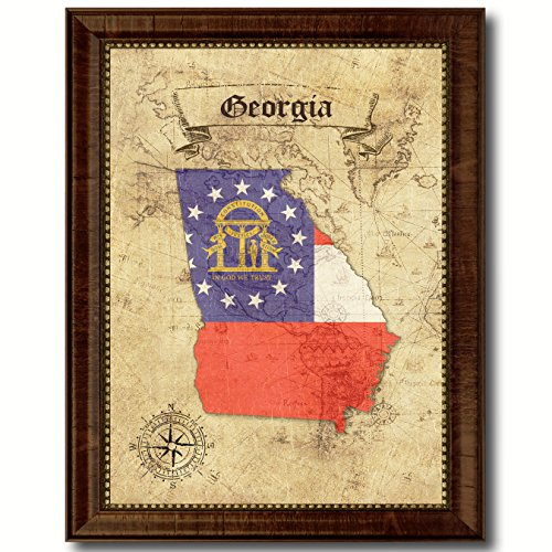 (Georgia State Vintage Map Flag Canvas Print with Custom Brown Picture Frame Gifts Home Decor Wall Art Decoration, 15