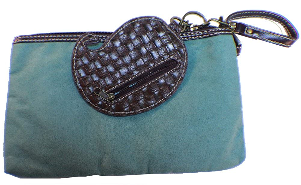 Chala Little Girl Clutch Purse Teal Suede Leather Coin Key Chain Fob