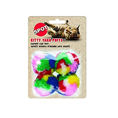 "Ethical SPOT Kitty Yarn Puffs Colorful Woolen Yarn Cat Toy Contains Catnip 1.5"" Pack of 4 Pet"