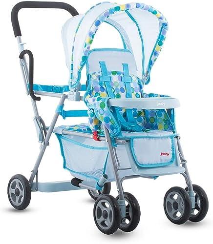 Joovy Toy Doll Caboose Tandem Stroller in blue