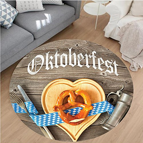 Nalahome Modern Flannel Microfiber Non-Slip Machine Washable Round Area Rug-Oktoberfest Beer Festival Cutlery Ribbon and Cutting Board on Restaurant Table Blue Gray area rugs Home Decor-Round (Sparta Round Cutting Board)
