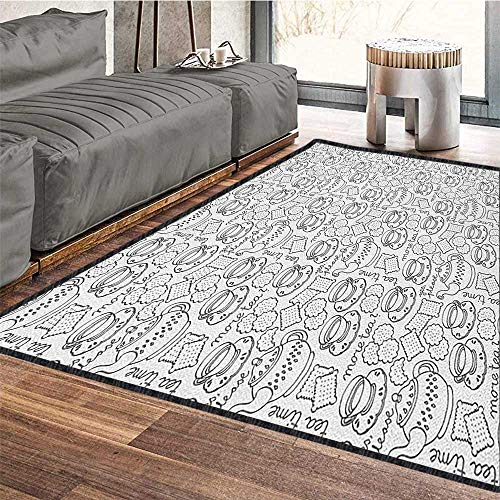 Tea Party Traditional Bright Area Rug,Monochrome Style Tea Time Doodle with Pot Cups and Cookies Pattern Monochrome for Home Decorate Grey White 71