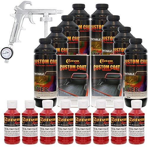 Custom Coat HOT ROD RED 8 Liter Urethane Spray-On Truck Bed Liner Kit with (FREE) Custom Coat Spray Gun with Regulator
