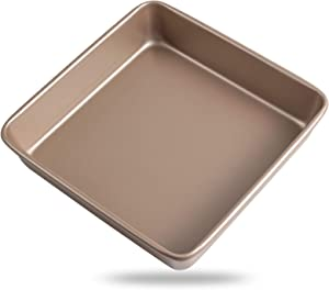 Zoymensu Bakeware 9.4 Inch Nonstick Sheet Baking Carbon Steel PTFE Coating Deep Bakeware Square Baking Pan Pizza Pan Toaster Oven Pan Champagne Gold