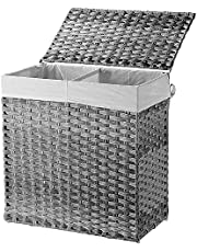 SortWise Handwoven Laundry Basket With Lid 110L Foldable Wicker Laundry Clothes Hamper With Divided Removable Liner Bag For Bedroom, Bathroom, Laundry Room