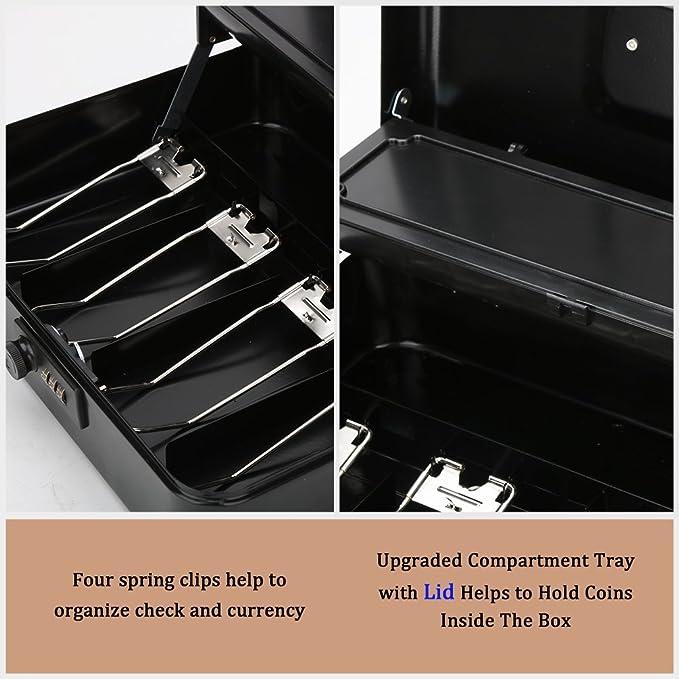 Amazon.com: Jssmst - Caja de metal con bandeja para dinero ...