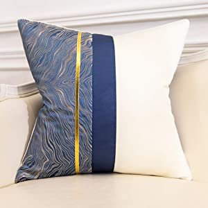 Avigers 20 x 20 Inch Square Navy Blue Silver Gold White Patchwork Abstract Striped Cushion Case Luxury Modern Throw Pillow Cover Home Decorative Pillow for Couch Living Room Bedroom Car