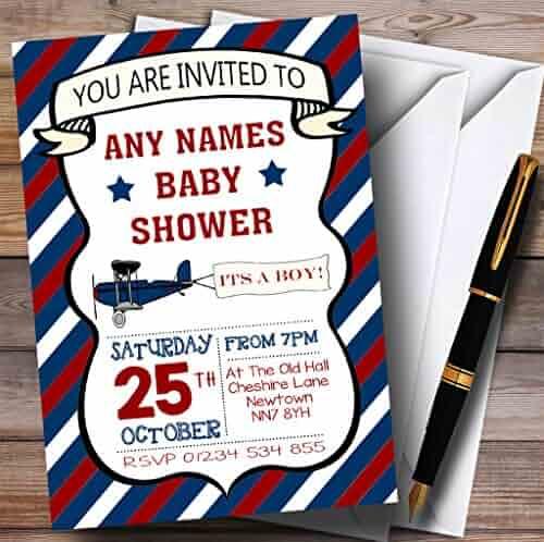 Blue Red Vintage Plane Invitations Baby Shower