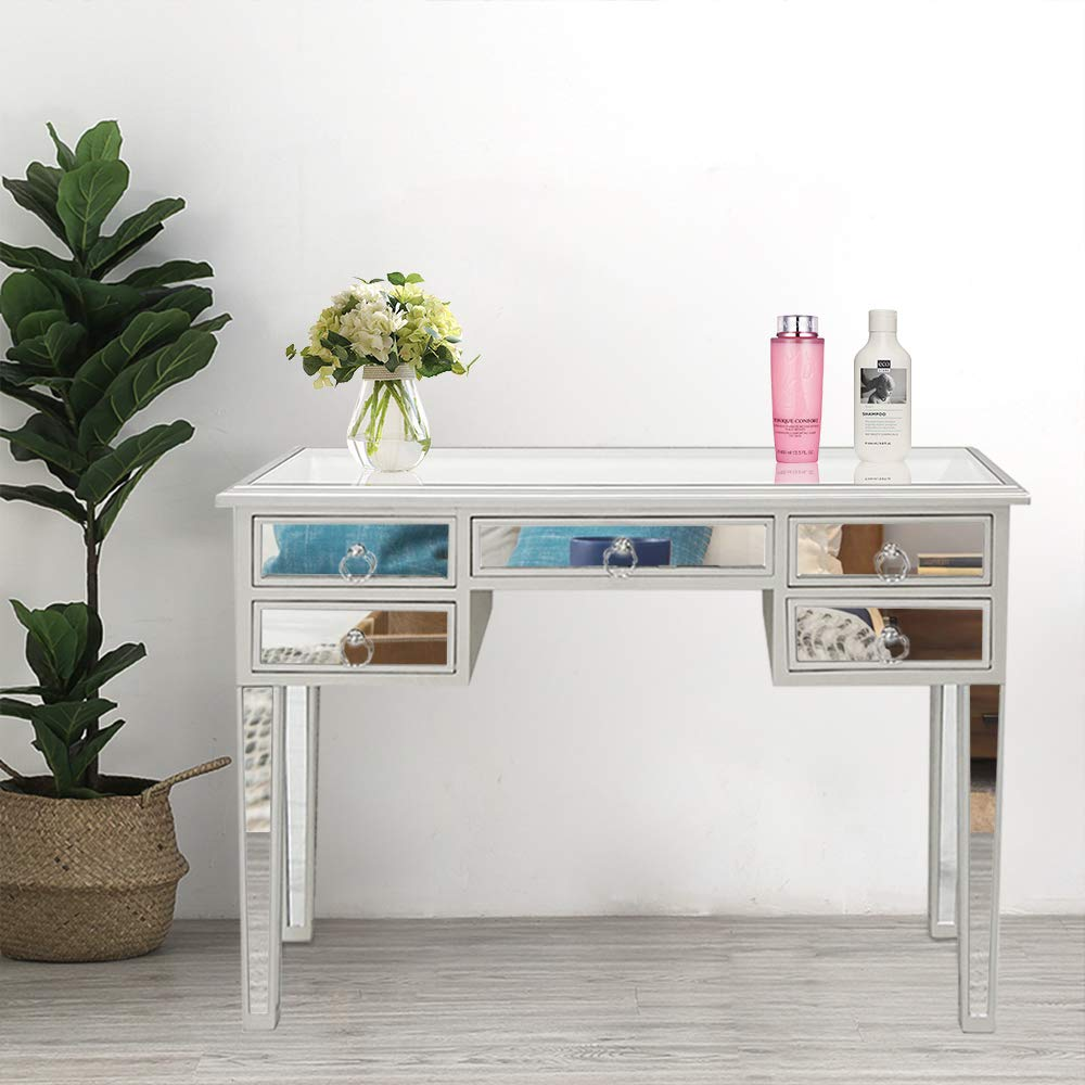 SSLine Mirrored Writing Desk Vanity Makeup Table Desk with 5 Drawers Silver Glass Finish Mirroed Media Console Table Modern Deluxe Dressing Table for Girls Women