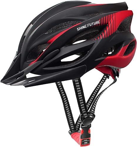 Casco de ciclismo para adultos, ajustable, ligero, para hombres y mujeres, casco de bicicleta de carretera y montaña, con visera desmontable y luz LED ...