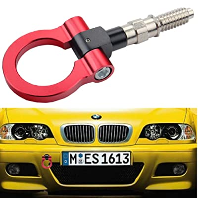 Dewhel JDM Aluminum Track Racing Front Rear Bumper Car Accessories Auto Trailer Ring Eye Towing Tow Hook Kit Red Screw On For BMW 1 3 5 Series X5 X6 E36 E39 E46 E82 E90 E91 E92 E93 E70 E71 MINI Cooper: Automotive