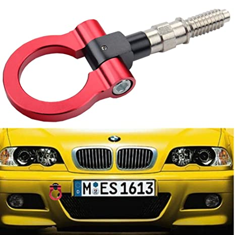 Dewhel JDM Aluminum Track Racing Front Rear Bumper Car Accessories Auto  Trailer Ring Eye Towing Tow Hook Kit Red Screw On For BMW 1 3 5 Series X5  X6