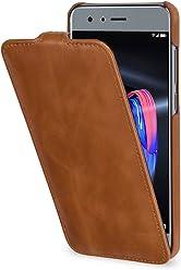 StilGut UltraSlim Case, custodia flip case custodia verticale in vera pelle pregiata per Huawei Honor 9, nero