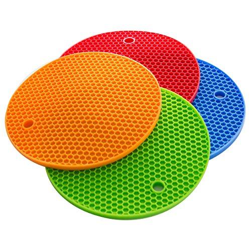 Topfuntersetzer Topflappen 4er Set Silikon hitzebeständig bis zu 230°C spülmaschinenfest bunt (Blau, Rot, Grün und Orange)