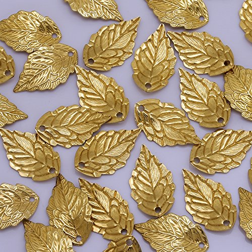 (10x17mm Brass 24K Gold Plated Leaf Charm,Leaf Pendant,Hair Accessories Leaf,Leaf Spacer,Handcrafted Jewelry,Sold 50pcs/lot)