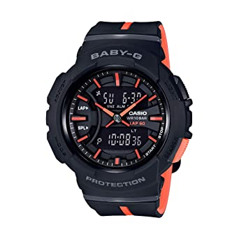 cd43f40465 Amazon.com: Casio Baby-G Black and Orange Digital Ladies Watch with ...