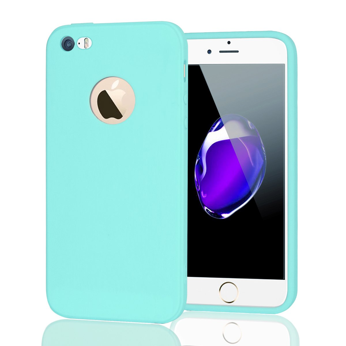 Funda iPhone 5S Silicona Carcasa Suave Flexible TPU Ultra Fina Delgado Anti Golpes Choque Case Mó vil Candy Color Cubierta Protectora Caja Tapa iPhone 5/5S/SE Negro CoverTpu