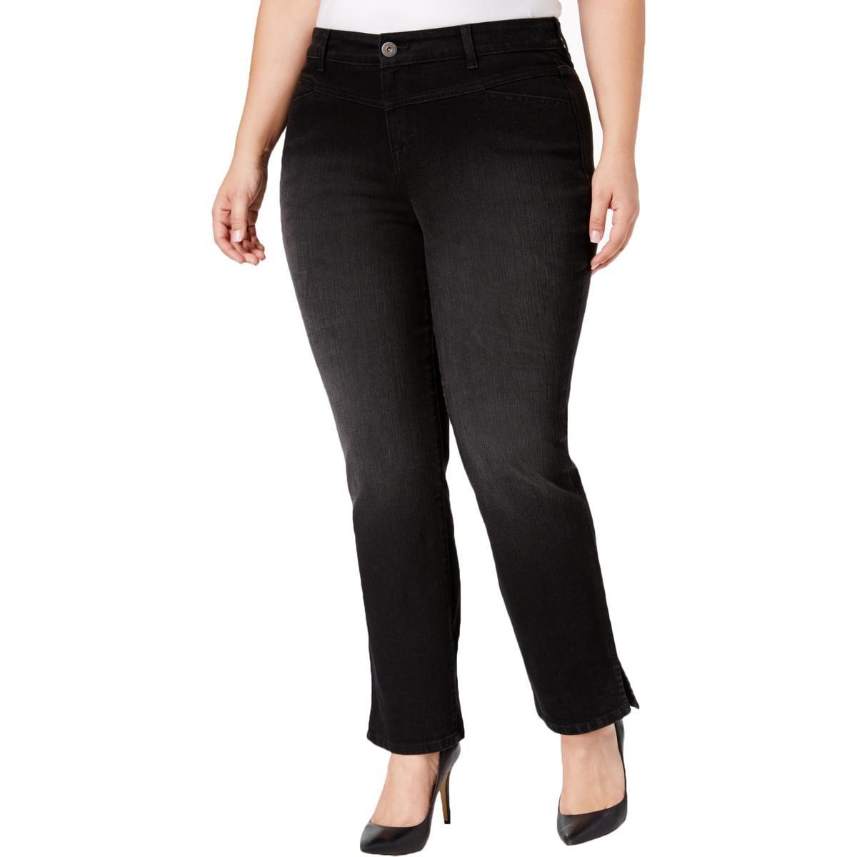 Style & Co.. Womens Plus Denim Split-Hem Ankle Jeans Black 20W