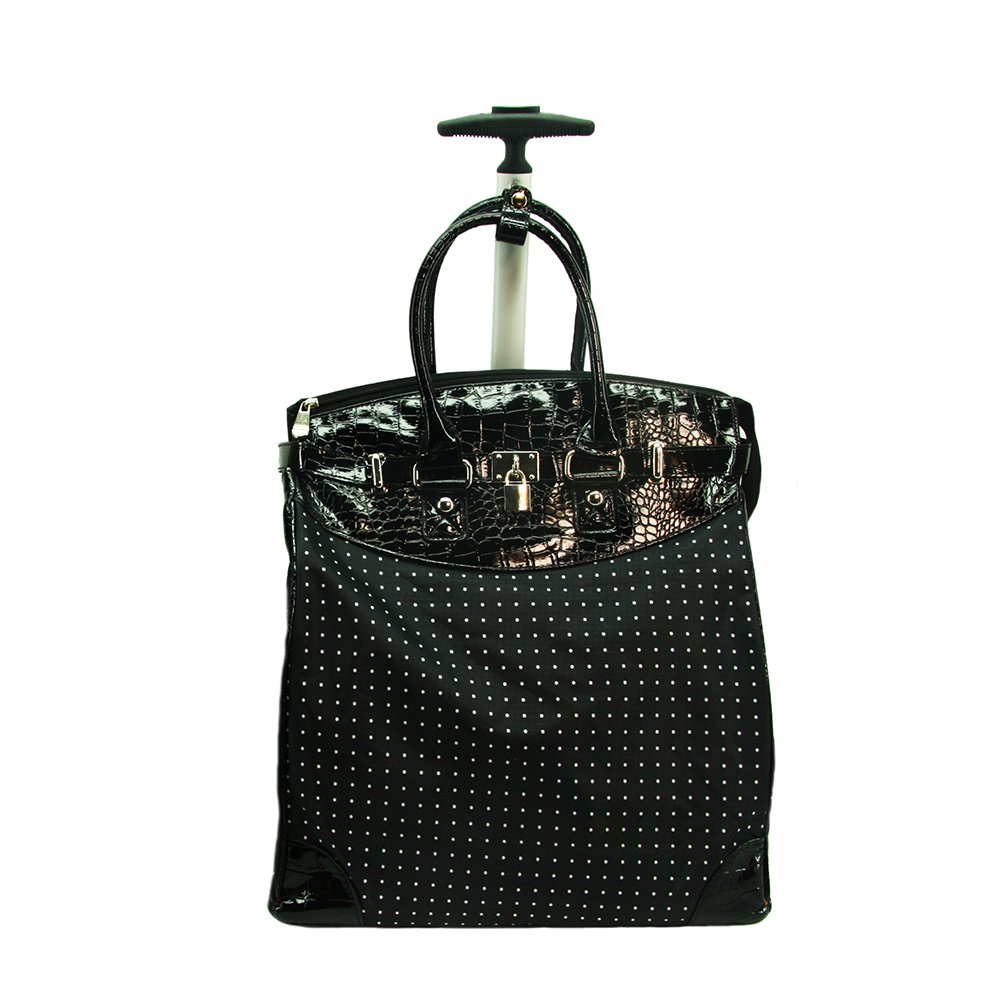 Rollies HOUNDSTOOTH Red Foldable Luggage Bag Rolling Tote Shopping Traveling Carry-on