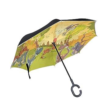 Wamika - Paraguas invertido con doble capa de dinosaurios de dibujos animados con mango en forma