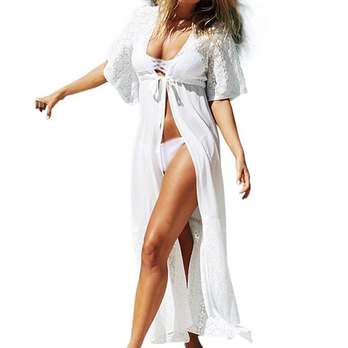 c8896fa6db332 Image Unavailable. Image not available for. Color  Faleto Womens Chiffon  Long Maxi Beach Dress Swimsuit Bikini Cover ...