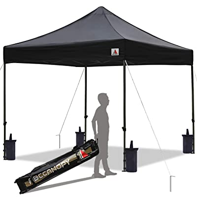 ABCCANOPY Pop up Canopy Tent Commercial Instant Shelter with Wheeled Carry Bag, Bonus 4 Canopy Sand Bags, 10x10 FT Black (Renewed) : Garden & Outdoor