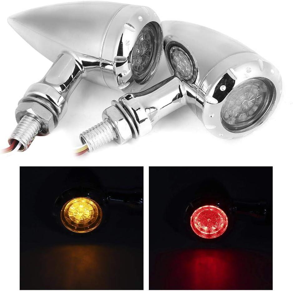 GAESHOW 2 Piezas Motocicleta 10 mm Direcci/ón Intermitente LED Luces direccionales L/ámpara indicadora de luz Motocicleta L/ámpara de direcci/ón Luz Intermitente LED