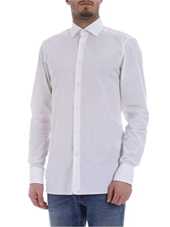 5b8a72c425 Z Zegna Men's 5039909MS0MT White Cotton Shirt at Amazon Men's ...