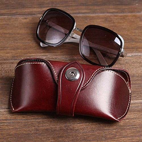 AMAZZANG-Handmade Old Saddle Leather Glasses Pouch Bag Men Women Fashion Sunglasses Case (WINE) (Spy Celebrity Bag)