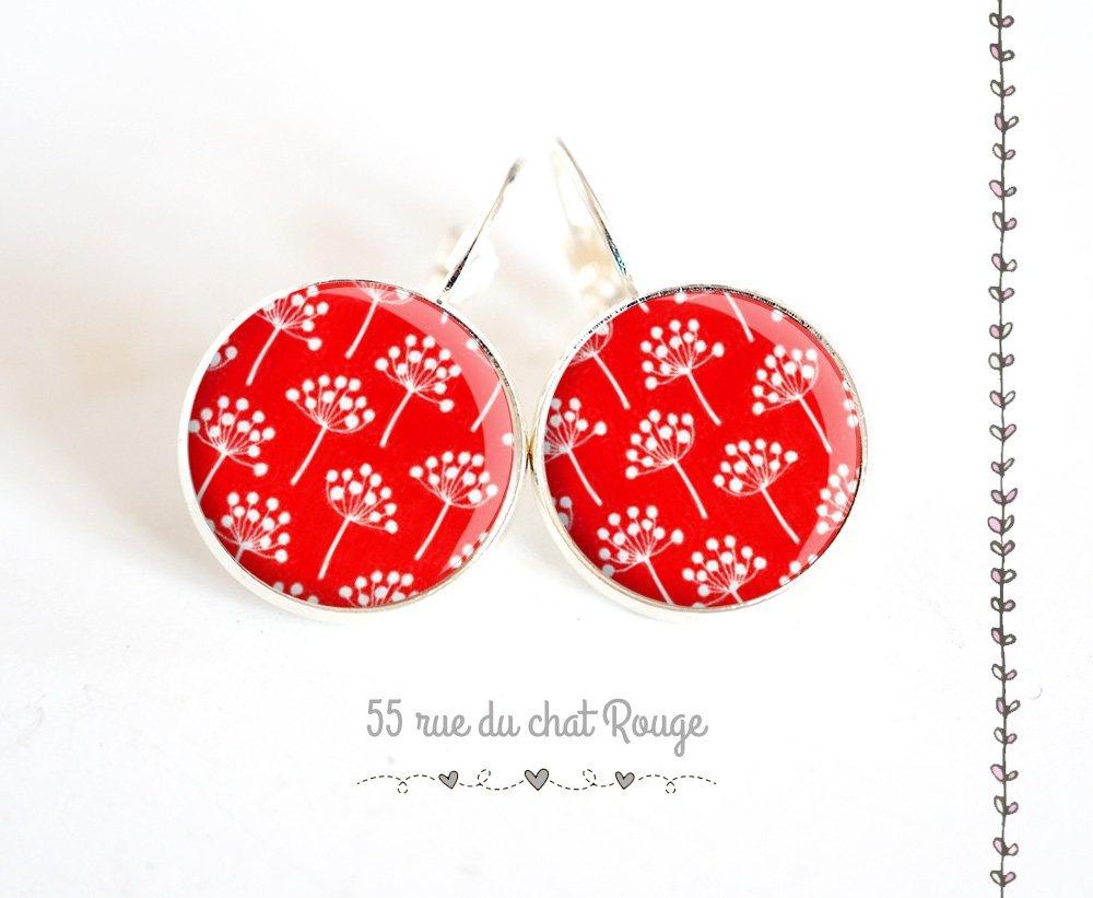 fleurs japonaises rouge Boucles doreilles cabochon argent/ées motif japonais japon rouge et blanc