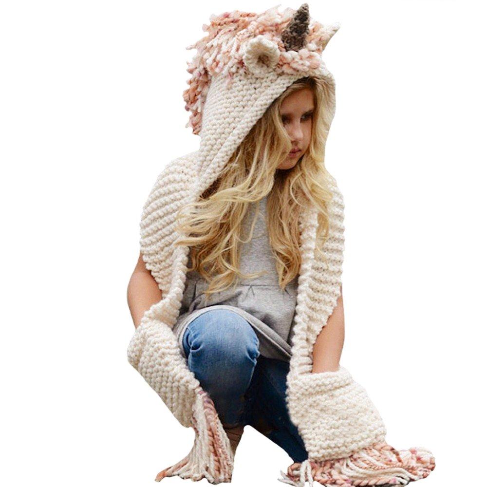 D-Foxes Kids Winter Unicorn Hats Knitted Earflap Hood Scarves Animal Ear Cap Beanies