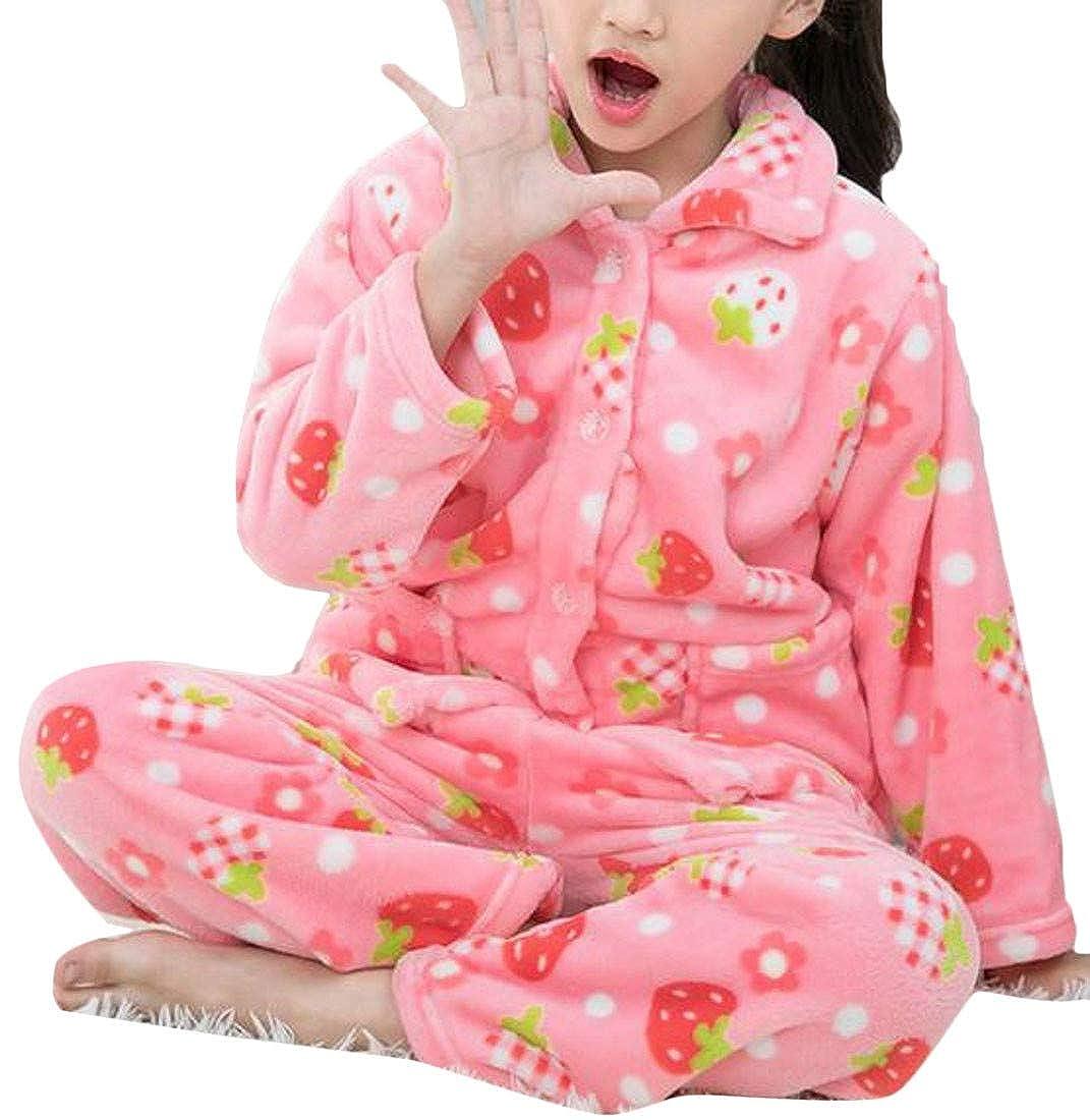 Sweatwater Boy Girl Fleece Winter Sleepwear Flannel Print Lounge Pajama Set