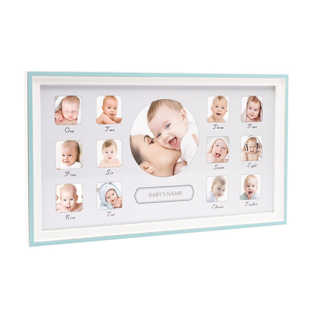 8b3224be7869 Amazon.com: Afuly Baby's First Year Picture Frame Wood 12 Month Keepsake  Collage Photo Frames Horizontial Blue: Home & Kitchen