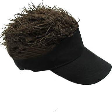 Lerben® Men Women Funny Sun Visor Cap Wig Peaked Cap Adjustable Baseball Cap  with Fake Hair  Amazon.co.uk  Clothing 6c08a71029f3