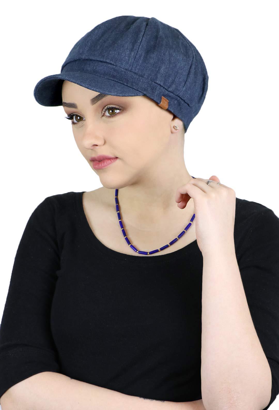 Newsboy Cap for Women Cabbie Gatsby Summer Hats Ladies Chemo Headwear Head Coverings Denim (Indigo) by Hats Scarves & More
