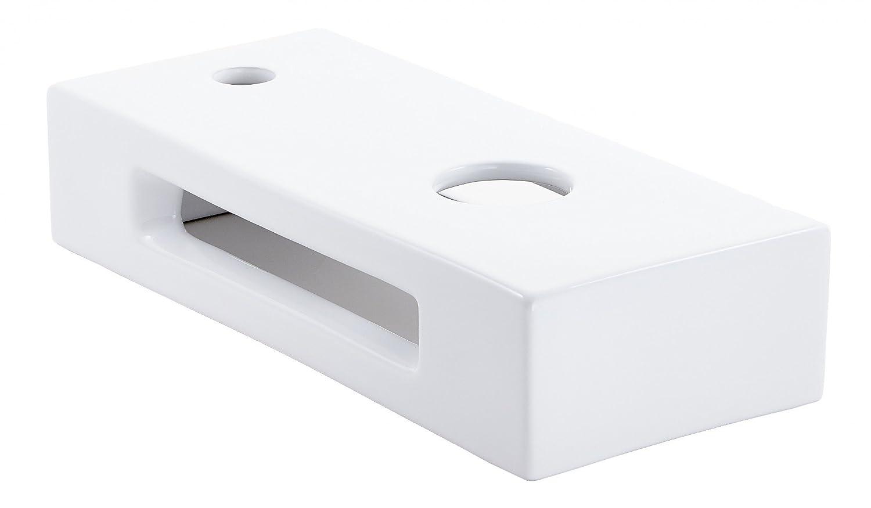 prsHOME® BASE Design Piano d'Appoggio, Piano Bagno, Top per Lavabo per Piano, Bianco, Rettangolare, Ceramica