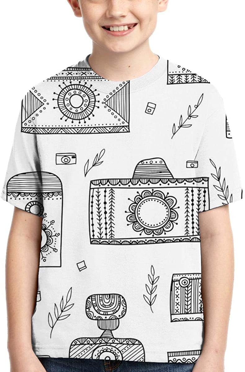 Summer Tops for Boys Youth T-Shirts Camera Full Printed Short Sleeve Crew Neck Tees