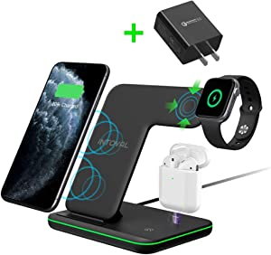 Intoval Wireless Charger, True 3 in 1 for Apple iPhone/iWatch/Airpods, Qi-Certified Wireless Charging Station for iPhone 11 Series/XS Max/XR/XS/X/8/8P, iWatch 5/4/3/2, Airpods Pro/2/1 (with Adapter)