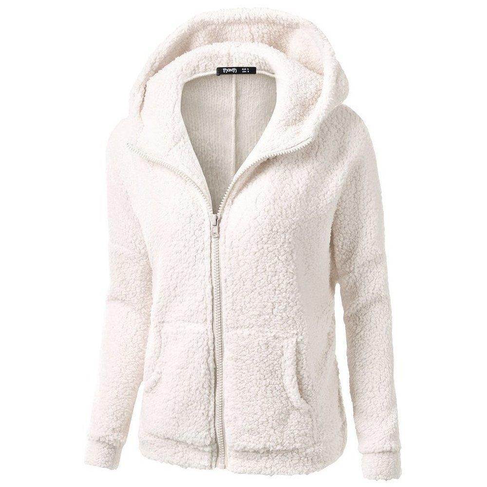 Women's Hooded Sweater Coat Warm Wool Long Sleeve Hoodie Coat Outwear Parka Puffer Jackets