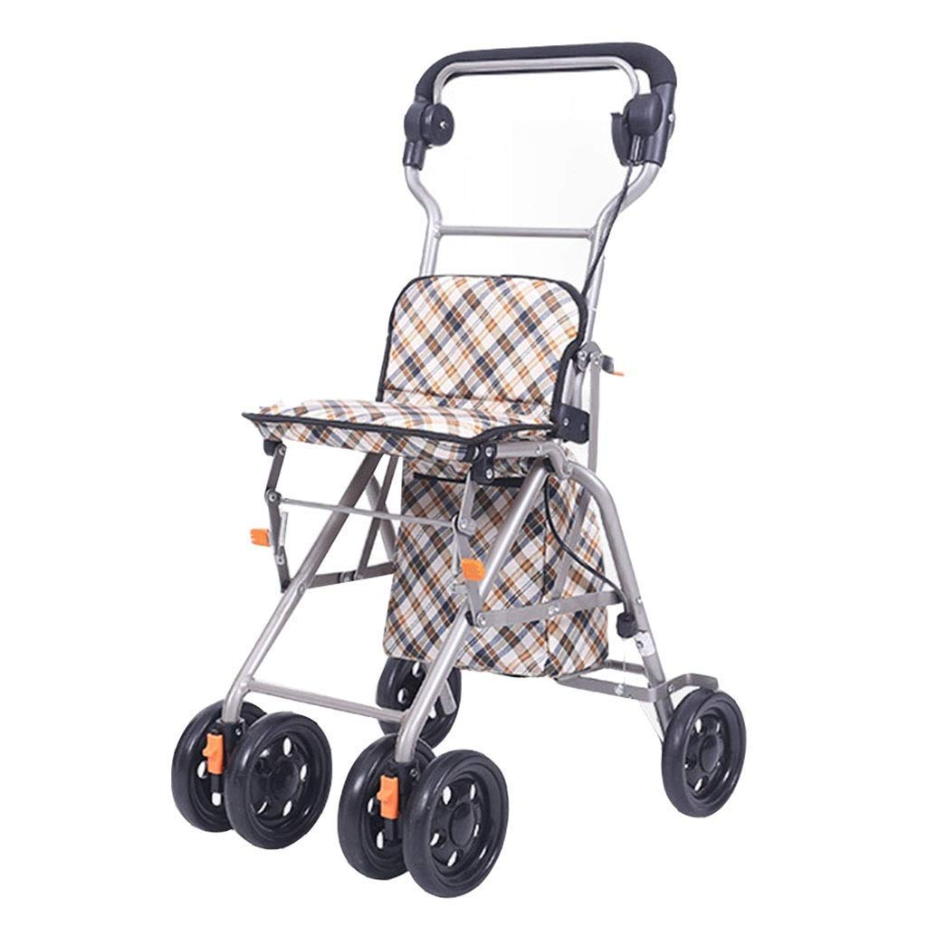 Old Man Rolling Walkers Shopping Cart Trolley Folding Wheelchair Household Grocery Shopping Cart Four-Wheeled Vehicle Rehabilitation Exercise PNYGJZXQ by PNYGJZXQ